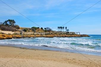 a view of Miracle beach in Tarragona, Spain