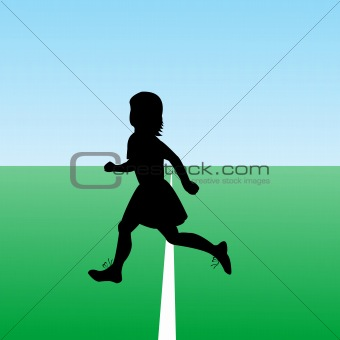Hand drawn child silhouette running. New start concept.