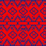 Red ethnic texture with blue ornaments