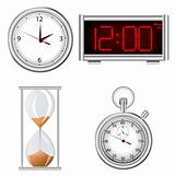 Set of time measurement instruments icons