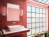 Red bathroom interior 3d render