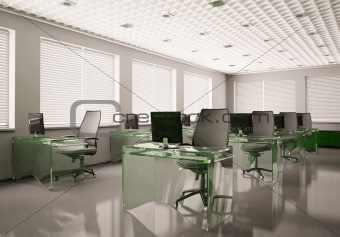 Modern office with glass tables 3d