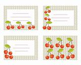 Fruit labels with cherry