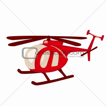 Cartoon style red helicopter