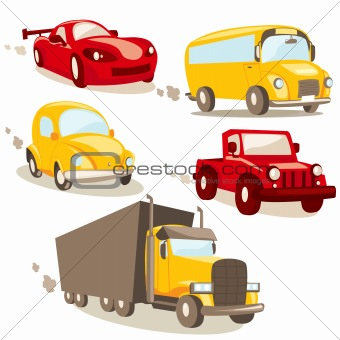 Cartoon vehicles, isolated