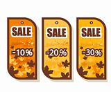 Set of 3 autumn sale tags