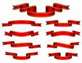 Red Banner Ribbon Set Vector