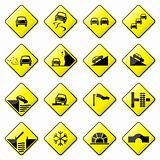 Road Sign Glossy Vector (Set 3 of 8)
