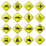 Road Sign Glossy Vector (Set 4 of 8)