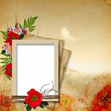 Vintage background in grunge style with poppy flowers and frames