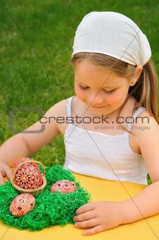 Little girl enjoying Easter time