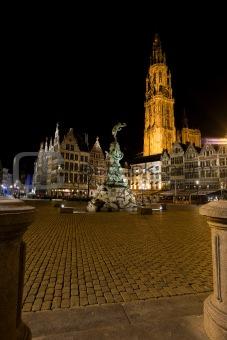 Grote Markt Antwerp Night Brabo Onze Lieve Church