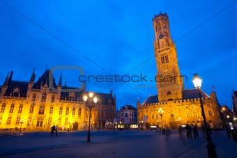 Grote Markt Courthouse Belfry Brugge Twilight