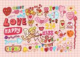 Hand-drawn cartoon romantic set in vector