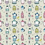 seamless cartoon bottle pattern,vector illustration