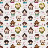 seamless cute family pattern,vector illustration