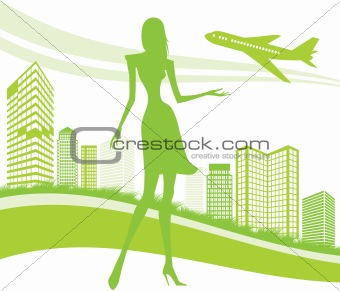 City, urban and airport background