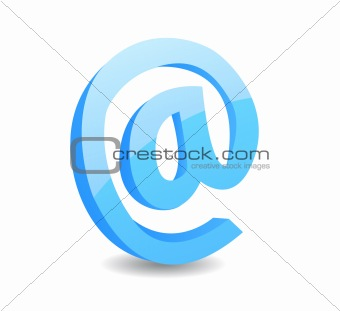 3d email sign vector illustration