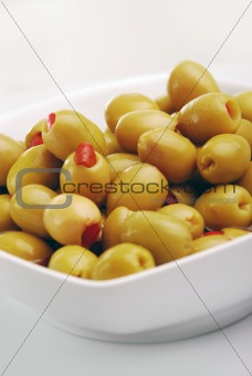 green olives, stuffed with red peppers