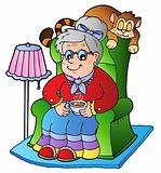 Cartoon grandma sitting in armchair