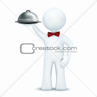 3d waiter serving food