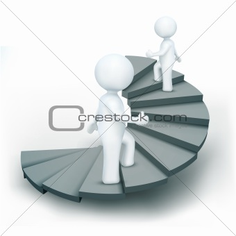 3d characters climbing steps of success