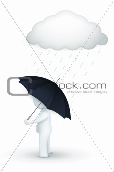 3d character walking with umbrella in rainy day