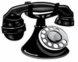Old Fashioned Black Telephone.  Vector EPS10