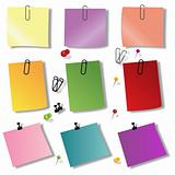 colorful papers with pin