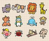 cute animal element, hand draw icon