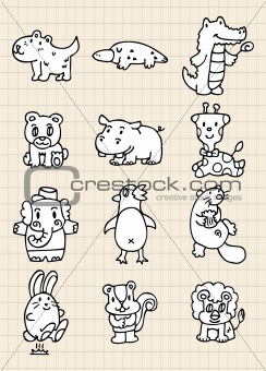 hand draw cute animal