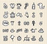 hand draw baby element