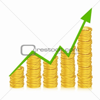 business graph with coins