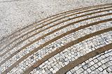 Old curved stone steps - cobblestones - granite