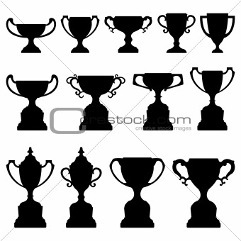 Trophy Cup Silhouette Black Set