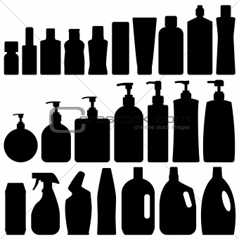Bathroom Silhouette Set Vector