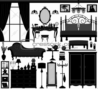 Bedroom Home Interior Design Set Black