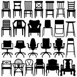 Chair Black Silhouette Set