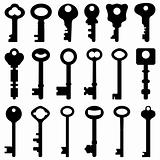 Key Black Silhouette Retro Old Antique Vector