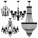 Chandelier Black Silhouette