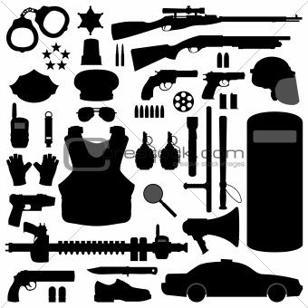 Police Weapon Equipment Vector