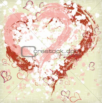 Abstract grunge hearts background