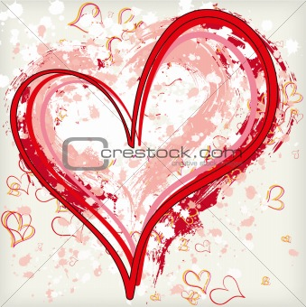 Abstract grunge heart background