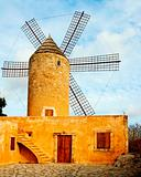 typical windmill in Mallorca, Balearic Islands, Spain