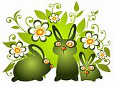 rabbits and flowers