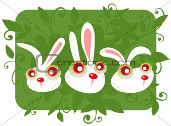 three cartoon rabbits