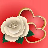 Rose and two hearts