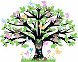owls flowers and butterflies