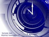 Abstract clock blue background. Vector