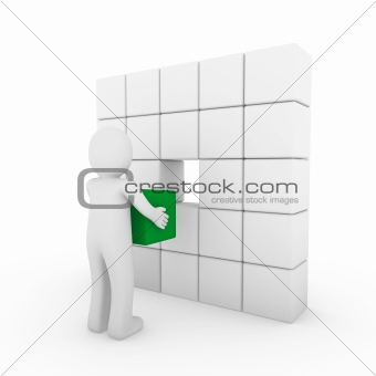 3d human cube green white